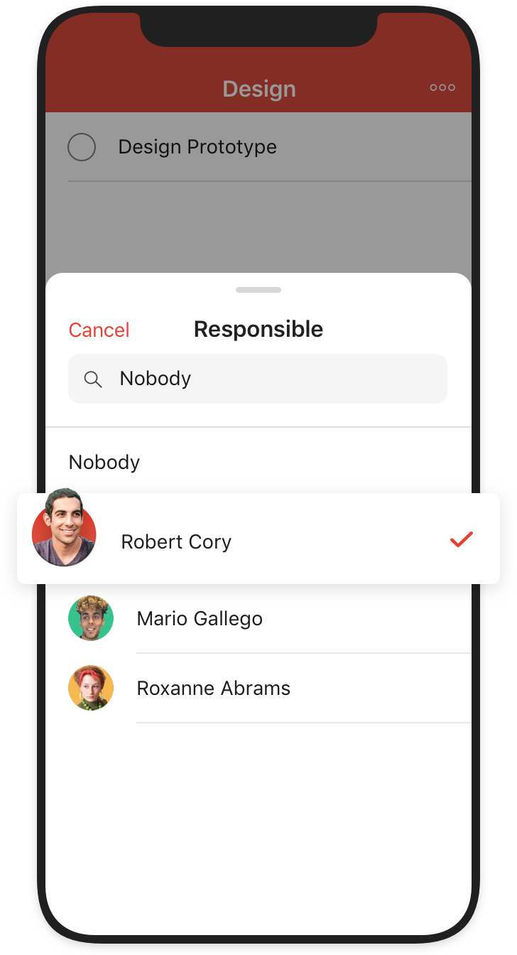 delegating tasks in todoist mobile user interface
